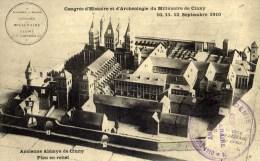 71 CLUNY Congrès Histoire Et Archéologie Millénaire Sep.1910 Cachet Académie De MACON Plan Ancienne Abbaye - Cluny