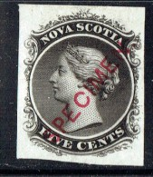 NOVA SCOTIA  Specimen Plate Proof On India Paper  Unitrade   10TCiv  SPECIMEN Type D  Superb Copy - Ungebraucht