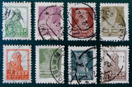 SERIE COURANTE 1925/27 - OBLITERES - YT 288 + 291 + 293/95 + 300 + 302/03 - TYPOGRAPHIES - DENTELES 11 3/4 - 12 1/4 - Used Stamps