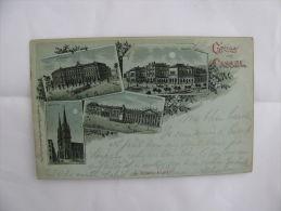Postcard Germany Gruss Aus Cassel Königsplatz Marlinskirche Bahnhof Ostende 1899 - Postcards