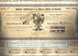 Debito Unificato Della Città Di Napoli Cartella Al Portatore  Doc.179 - D - F