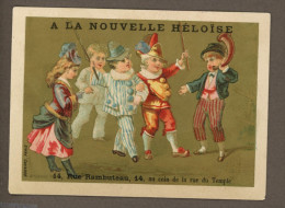 A La Nouvelle Héloïse, Jolie Chromo Dorée Lith. Bognard, Pierrot & Arlequin, Personnages, Musiciens - Chromos