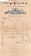 """02129 """"CONTO DI RISTORANTE - ALBERGO DELLA LUNA DI NEGRO BARTOLOMEO - CERESOLE D'ALBA"""" CIRCA 1930. ORIGINALE - Menu"""