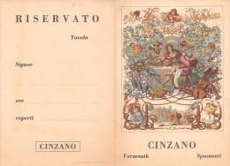 """02133 """"SEGNAPOSTO DECORATO CON PUBBLICITA' DELLA CINZANO - STAMPATO IN CROMOLITOGRAFIA"""" SEGNAPOSTO. ORIGINALE - Menu"""