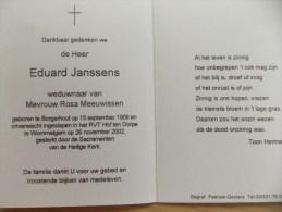 Doodsprentje Eduard Janssens Borgerhout 15/9/1909 Wimmelgem 26/11/2002 ( Rosa Meeuwissen ) - Religión & Esoterismo