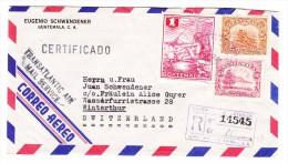 Guatemala Flugpost R-Brief 4.10.1954 Nach Winterthur Mit AK-Stempel - Guatemala