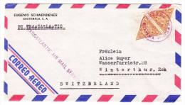 Guatemala Transatlantic AIr Mail Service Violet Mit 2 X10 Centavos Auf Brief Nach Winterthur - Guatemala