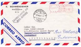 Guatemala 21.8.1951 Freistempel Auf Flugpost Brief Nach Winterthur Weitergeleitet Nach Pontresina - Guatemala
