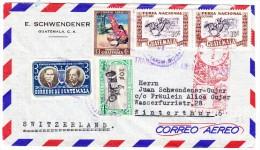 Guatemala 19.5.1951 Freistempel Und Marken Auf Flugpost Brief Nach Winterthur - Guatemala