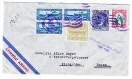 "Guatemala 26.8.1936 Flugpost Brief Nach Winterthur Mit Stempel ""Affranchi Par Avion Jusqu´à New-York"" - Guatemala"