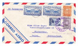 "Guatemala 8.8.1946 Flugpost Brief Nach Winterthur Mit Stempel ""Transatlantic Air Service"" - Guatemala"