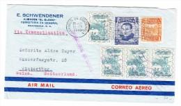"""Guatemala 23.8.1945 Flugpost Brief In Die Schweiz Mit Stempel """"Transatlantic Air Service"""" Violett - Guatemala"""