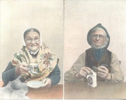 2 Belles CPAs PERSONNAGES BLOIS A PARIS 1906 PIPE DRINKING TEA PIPA TOMANDO EL TE CPA CIRCULEES - Bekende Personen