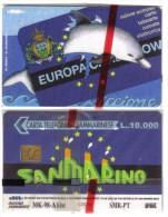 SAN MARINO(chip) - Dolphin Delfino Europa Card Show Riccione 1998 10000 Lire Nuove Cod.schede.03 - San Marino