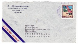 "Guatemala Flugpost Brief Nach Winterthur Mit Vermerk ""Transatlantic Air Service"" Rückseite Flaggen Marken - Guatemala"