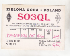 Poland Zielona Gora 1998 Old Circulated QSl Card - QSL-Karten