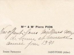 CARTE DE VISITE  PION SOURCE PARMENTIER ST YORRE 01 ALLIER - Cartes De Visite
