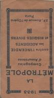 Calendrier Agenda De Poche/La Métropole/Cie D'Assurances/Paris/1933   CAL215 - Calendriers