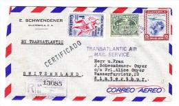 Guatemala 30.8.1954 Flugpost Eingeschribener Brief Nach Winterthur Schweiz - Guatemala