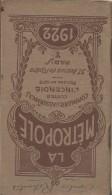 Calendrier Agenda De Poche/La Métropole/Cie D´Assurances/Paris/1922   CAL216 - Calendriers
