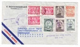 "Guatemala 9.10.1947 Flugpost Brief Nach Winterthur Schweiz ""Affranchi Par Avion Jusqu'à New-York"" Vermerk - Guatemala"