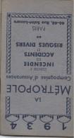 Calendrier Agenda De Poche/La Métropole/Cie D´Assurances/Paris/1934   CAL217 - Calendriers