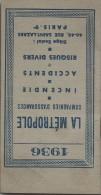 Calendrier Agenda De Poche/La Métropole/Cie D´Assurances/Paris/1936   CAL219 - Calendriers