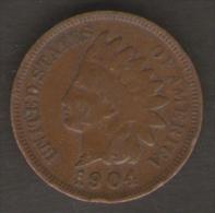 U.S.A. - STATI UNITI D' AMERICA - ONE CENT ( 1904 ) - INDIAN HEAD - 1859-1909: Indian Head
