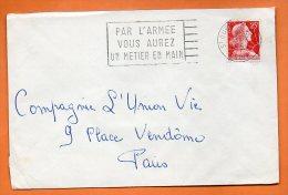 ST OUEN  PAR L'ARMEE VOUS AUREZ UN METIER EN MAIN     3 / 3 / 1959 Lettre Entière N° P 309 - Mechanical Postmarks (Advertisement)