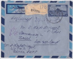 Pakistan - Stamped Registered Air Letter BANNU To BASEL 1954 - Aérogramme Recommandé - Karachi Airport - Pakistan