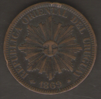 URUGUAY 4 CENTESIMOS 1869 - Uruguay