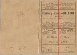 TITRE TRANSPORT FREIBURG I B HBHF BELFORT FRIBOURG BELFORT  15.07.1907 III EME CLASSE - Sonstige