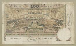 BELGIUM - 100 Francs  1920  P78  Fine  ( Banknotes ) - [ 2] 1831-... : Royaume De Belgique