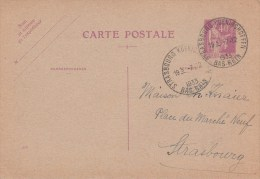 EP Y&T 281-CP1 Obl STRASBOURG-KOENIGSHOFFEN Du 7.12.1933 - Cachet Autoplan - Marcophilie (Lettres)