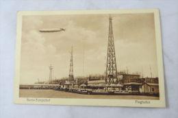 Pc Germany Flughafen Airport Berlin Tempelhof Zeppelin Luftschiff Heinkel 1929 - Cartes Postales