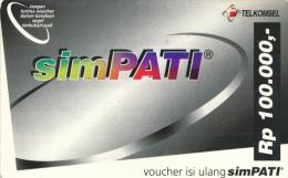 RARE Télécarte  Prépayée D'Indonésie TELKOMSEL RP 100  000,- Vide Bon état N°lot 00620204AT - Indonésie