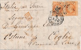 Paris Empire Lauré N° 31 40 C Orange X 2 Oblitéré étoile 35 Sur LAC Pour L´Italie TB. - 1849-1876: Classic Period