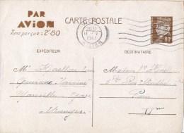 Entier postal type P�tain avec taxe Par Avion taxe per�ue 2.80F �crite � bord du cuirassier Lorraine pour Paris