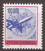 1993  2606 A  JUGOSLAVIJA JUGOSLAWIEN FREIMARKE FLUGZEUG   K 13 1-4   MNH - 1992-2003 Repubblica Federale Di Jugoslavia
