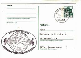 """BRD Private Ganzsache Postkarte, Stempel Surendorf, """"Seefunk über Satelliten"""", 1977 - BRD"""