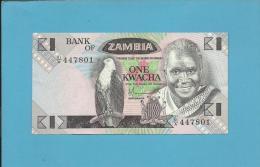 ZAMBIA - 1 KWACHA - ND ( 1980 - 88 ) - Pick 23.a - Sign. 5 - President K. KAUNDA - 2 Scans - Zambia