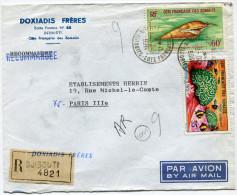 COTE FRANCAISE DES SOMALIS LETTRE RECOMMANDEE PAR AVION DEPART DJIBOUTI  1966-20-6 POUR LA FRANCE - Côte Française Des Somalis (1894-1967)