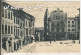 Mähr. Schönberg V.1904 Marktplatz Mit Hotel,Geschäfte,Zahnarzt,Josef Wiatschka-Cigarren  (6375) - Boehmen Und Maehren