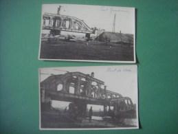 Lot de 2 cartes photo du pont de GRAMMENE ( DEINZE )