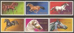 Umm Al-Qiwain 1972 Mi# 496-501 A, Block 36 ** MNH - Horses - Umm Al-Qaiwain