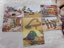 LOT DE 7 CARTES HUMORISTIQUES ..MILITARIA ..SIGNE  JEAN POL - Cartes Postales