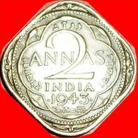★WAR PERIOD: INDIA ★2 ANNA 1943! LOW START★ NO RESERVE! George VI (1937-1952) - Inde