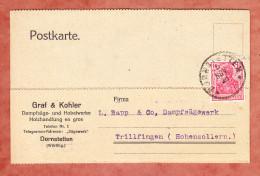 Karte, Germania, Graf & Kohler Dornstetten, Nach Trillfingen 1918 (78980) - Lettres & Documents