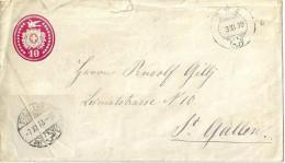 Tübli Brief 24   Zuz - St.Gallen             1878 - Entiers Postaux