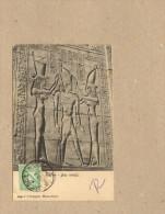 Ägypten Tempel  Edfon Relief Gelaufen 1908, 2 Bilder - Egypte